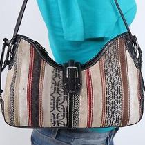 Fossil Med Multicolor Canvas Suede Leather Shoulder Hobo Tote Satchel Purse Bag Photo