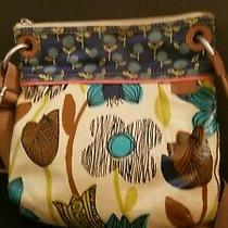 Fossil Med Multicolor Coated Canvas Leathr Crossbody Hobo Tote Satchel Purse Bag Photo