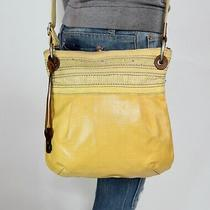 Fossil Med Yellow Coated Canvas Shoulder Hobo Tote Satchel Crossbody Purse Bag Photo