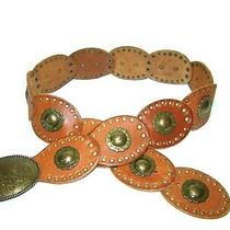 Fossil Medallion Concho Gypsy Hippie Wide Leather Belt Sz Medium Photo