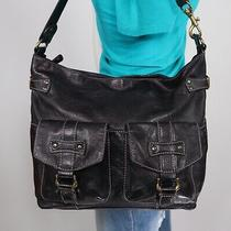 Fossil Medium Black Leather Shoulder Hobo Tote Satchel Purse Bag Photo