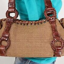 Fossil Medium Brown Straw Leather Shoulder Hobo Tote Satchel Purse Bag Photo