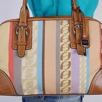 Fossil Medium Multicolor Canvas  Leather Shoulder Hobo Tote Satchel Purse Bag Photo