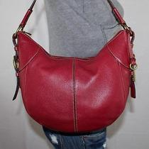 Fossil Medium Red Leather Shoulder Hobo Tote Satchel Slouch Purse Bag Photo