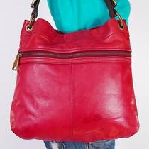 Fossil Medium to Large Red  Leather Shoulder Hobo Tote Satchel Purse Bag Photo