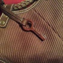 Fossil Medium Tote Handbag Round Handles Brown Twill Canvas Wood Key Fob Photo