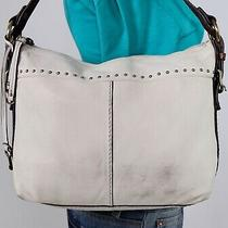Fossil Medium White Brown Leather Shoulder Hobo Tote Satchel Purse Bag Photo