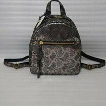 Fossil Megan Backpack Snake Silver Metallic Black Leather. New With Tags Photo