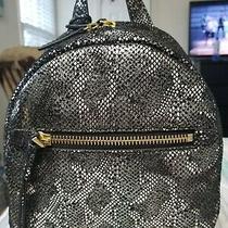 Fossil Megan Silver Metallic Leather Snake Print Print Zip Shoulder Backpack Photo