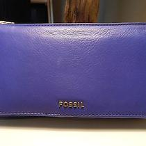 Fossil Memoir Clutch Dark Violet Leather Nwt Photo