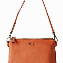 Fossil Memoir Top Zip Leather Apricot Peach Orange Small Shoulder Bag 128 Photo