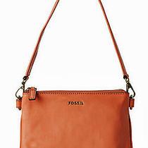 Fossil Memoir Top Zip Leather Apricot Peach Orange Small Shoulder Bag 128 Photo