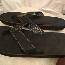 Fossil Men's 12-13 Black Leather Flip Flop Sandals Beach Lounge Casual Photo
