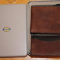 Fossil Men's Alex Bifold Wallet and Card Case Gift Set Brown Leather New in Tin Photo