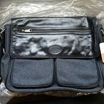 Fossil Men's Black Wool Leather Transit Work Briefcase Commuter Messenger Bag  Photo