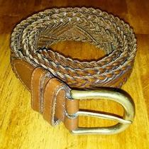 Fossil Men's Braided Brown Leather Belt Size M Photo