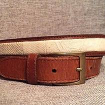Fossil Men's Brown Leather Belt W/ Ivory Cloth /fabric Center  Large 34 - Bt7701 Photo