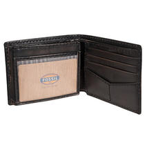 Fossil Men's 'Carson' Distressed Black Leather Wallet Photo
