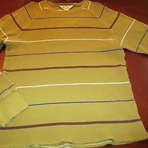 Fossil Men's Casual Green Lightweight Cotton Knit Stripe Shirt Size M Euc  Photo