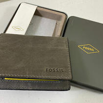 Fossil Mens Cement Gray Leather Derrick Execufold Wallet Photo