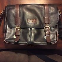 Fossil Men's Distressed  Blk/brwn Thick Sturdy Leather  Messenger Crossbody Bag Photo