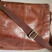 Fossil Men's Flap Messenger Laptop Bag Brown Leather Adjustable Strap  Photo