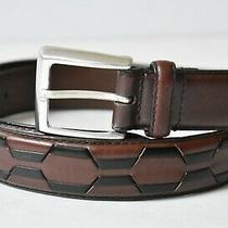 Fossil Mens Full Grain Cowhide Leather Belt Brown and Black Size 38 Photo