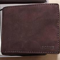 Fossil Men's Genuine Suede Leather Brown Bifold Wallet in Gift Box Photo