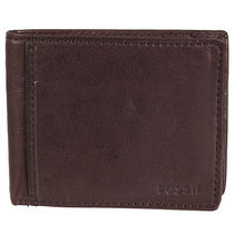 Fossil Men's 'Ingram' Brown Leather Bi-Fold Traveler Wallet Photo