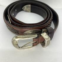 Fossil Men's Leather Belt Size 44 Brown Braided Silver Decorative Western Style Photo