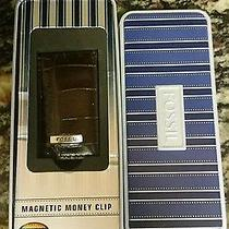 Fossil Men's  Magnetic Money Clip Brown Leather Gift Tin New Photo