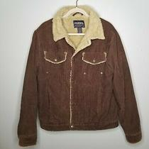 Fossil Men's Medium Brown Corduroy Faux Sherpa Jacket Pockets Button Front  Photo