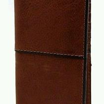 Fossil Men's Medium Brown Ethan Slim Executive Check Book Wallet 8 Card Slot Photo