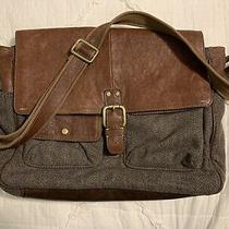 Fossil Men's Messenger Brown/green Leather/wool Laptop Commuter Work Bag Photo