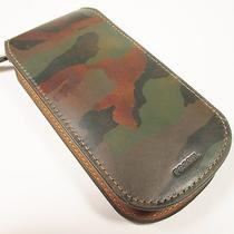Fossil Men's Travel Watch Leather Case Camouflage Pattern Full Zip Nwt Photo