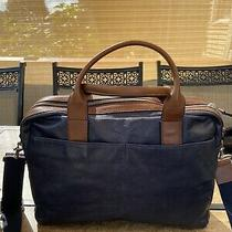 Fossil Mens Womens Briefcase Laptop Bag  Brown /blue Leather Photo