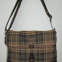 Fossil Mens Alpine Plaid Commuter Bag Messenger Briefcase Sml8295917 Nwt Photo