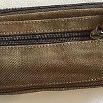 Fossil Mens Army Green Cotton Canvas /leather  Brass Pencil Pen Bag Case Zip Euc Photo