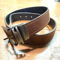 Fossil Mens Belt Genuine Leather Black Brown Silver Buckle Size 34 Reversible Photo