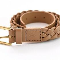 Fossil Mens Braided Woven Faux Leather Belt Tan Brown W/ Gold Buckle Men Sz 38 Photo