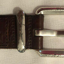 Fossil Mens Brown Leather Belt-Size Large-Silver Buckle Photo