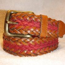 Fossil Mens Brown & Red Leather Belt Small 26 Womens Unisex Wide Woven Photo
