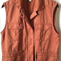 Fossil Mens M Brown Vest Button Zip Up Jacket Hunting Fishing Outdoor Pockets Photo