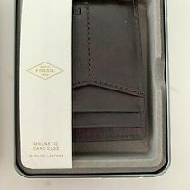 Fossil Mens Magnetic Card Case New in Metal Box Photo