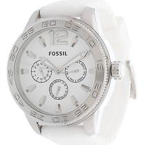 Fossil Mens Silicone White Band Chronograph Watch- Stainless Steel Dial Photo