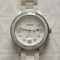 Fossil Mens Watch Ceramic Casing White Silicone Strap Oversized Style Ce5002 Photo