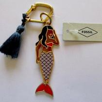 Fossil Mermaid Key Fob/ring/movable Flipper With Blue Tassel Slg1158710 Nwt Photo