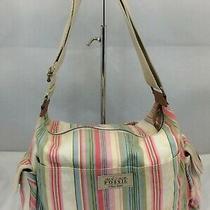 Fossil Messenger 75082 Bag Purse Crossbody Stripes Hip Boho Chic Big Photo