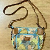 Fossil Messenger Bag Crossbody Purse Canvas Leather Green Blue Tan Circle Medium Photo