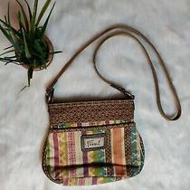 Fossil Messenger Bag Crossbody Purse Canvas Leather Green Blue Tan Purple Medium Photo